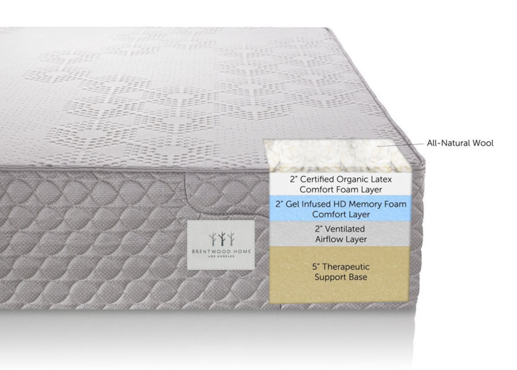 Brentwood Home S-Bed, 11-Inch Organic Latex and Gel Memory Foam Mattress, CertiPUR-US, Made in USA, 25 Year Warranty, Natural Wool Layer