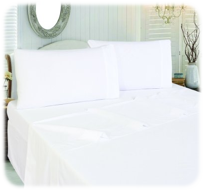 Cotton Sateen Queen Flat-Sheet White
