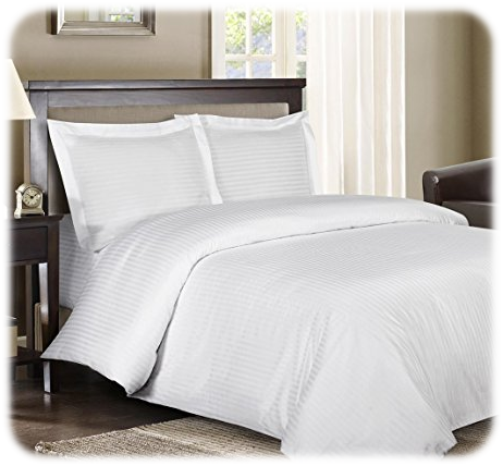 Royal Hotels Striped White 600-Thread-Count 4pc Bed Sheet Set