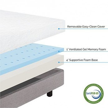 LUCID 5 Inch Gel Memory Foam Mattress - Dual-Layered - Firm Feel