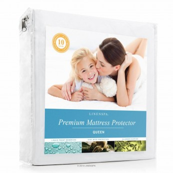 LINENSPA Premium Mattress Protector - 100% Waterproof - Hypoallergenic - 10 Year Warranty