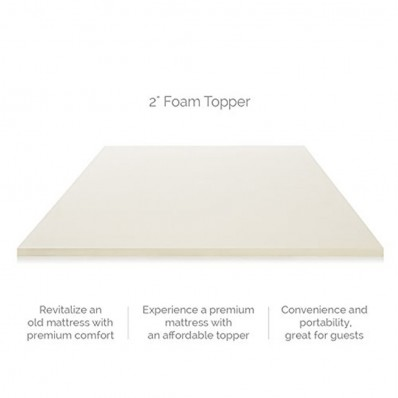 LUCID 2 Inch Foam Mattress Topper Queen Size 3-Year Warranty