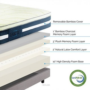 LUCID 16 Inch Plush Memory Foam and Latex Mattress - Four-Layer - Infused with Bamboo Charcoal - Natural Latex and CertiPUR-US Certified Foam - 25-Year Warranty