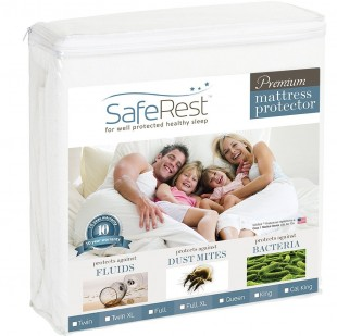 SafeRest Premium Hypoallergenic Waterproof Mattress Protector - Vinyl, PVC and Phthalate Free