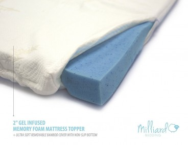MILLIARD 2 Gel Infused Memory Foam Mattress Topper + Ultra Soft Removable Bamboo Cover with Non-Slip Bottom