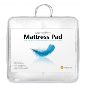 Hospitology Heavenly Microfiber Goose Down Alternative Overstuffed Mattress Pad / Topper