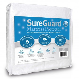 SureGuard Mattress Protector - 100% Waterproof, Hypoallergenic - Premium Fitted Cotton Terry Cover - 10 Year Warranty
