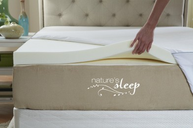 Natures Sleep Cool IQ 2.5 Inch Thick, 3.5 Pound Density Visco Elastic Memory Foam Mattress Topper with Microfiber Fitted Cover and 18 Inch Skirt