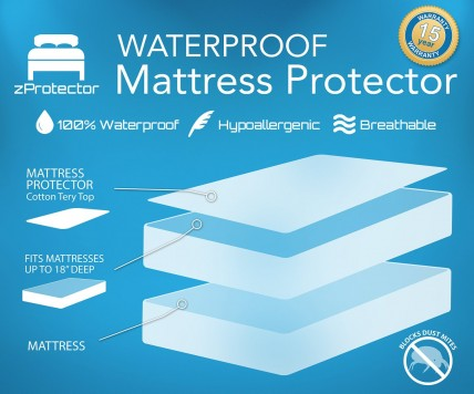Waterproof Mattress Protector by zProtector - Premium, Hypoallergenic with 15 Year Warranty